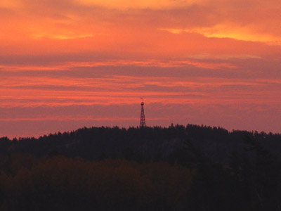 Temagami Fire Tower in the sunrise.