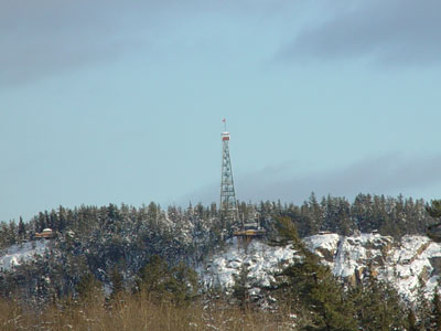 Temagami Fire Tower winter scene.